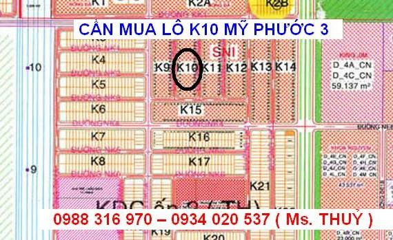 Mua đất Mỹ Phước 3 lô K10 giá cao