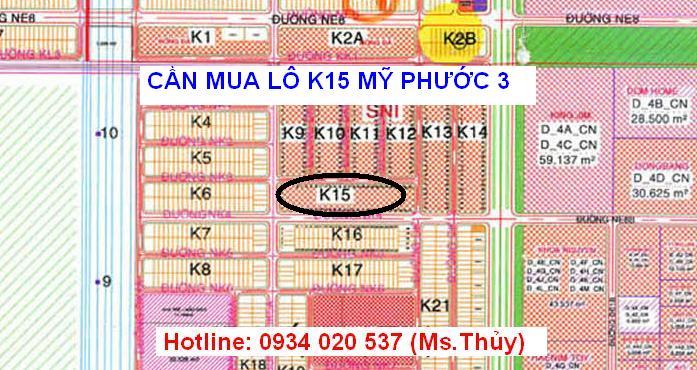 Cần mua lô K15 Mỹ Phước 3 vị trí đắc địa