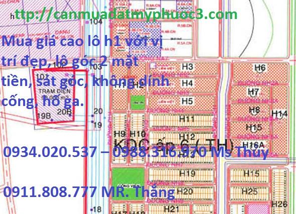 Cần mua lô H1 mỹ phước 3 bình dương khu dân đông với giá cao