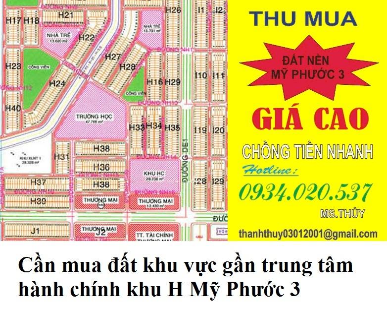 Cần mua đất khu vực gần trung tâm hành chính khu H Mỹ Phước 3